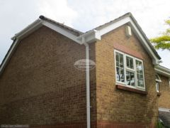 White UPVC bargeboard and soffit with square guttering