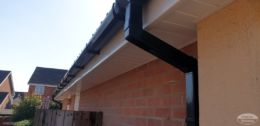 square guttering with white UPVC soffits