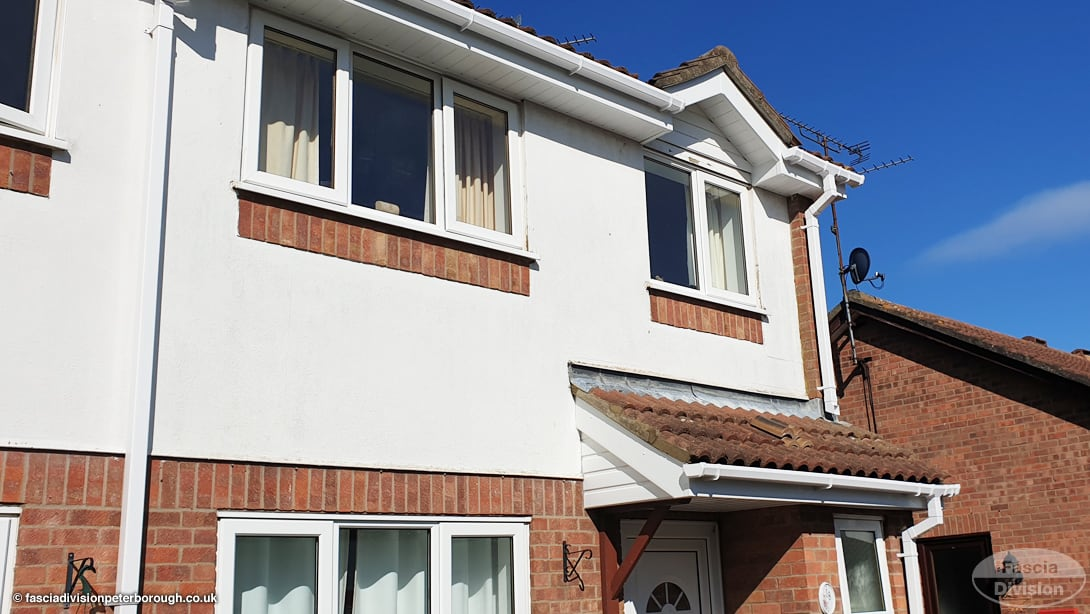 Replacement guttering and fascias in white PVC